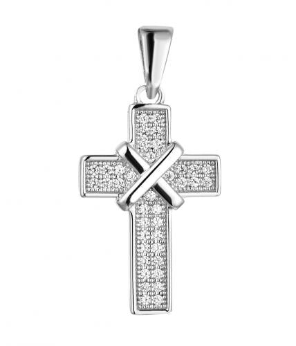 Rhodium CZ Cross 925 Sterling Silver Necklace FP00501A