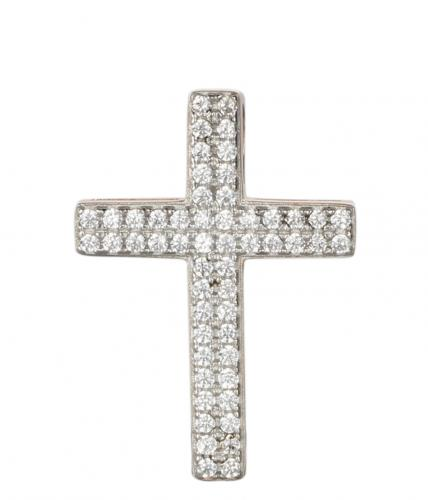Rhodium CZ Cross 925 Sterling Silver Necklace FP02403C