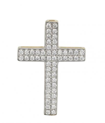 Rhodium CZ Cross 925 Sterling Silver Necklace FP02403D