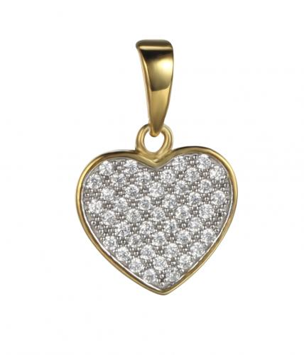 Yellow Gold CZ Heart 925 Sterling Silver FP03200D