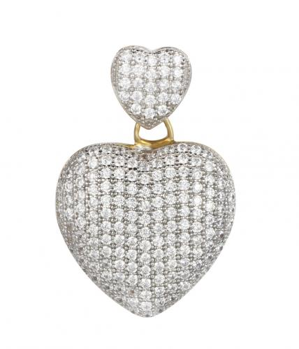 Rhodium CZ Heart 925 Sterling Silver FP03202C