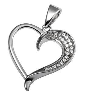 Rhodium CZ Heart 925 Sterling Silver FP03208A