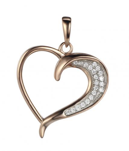 Rose Gold CZ Heart 925 Sterling Silver FP03208B