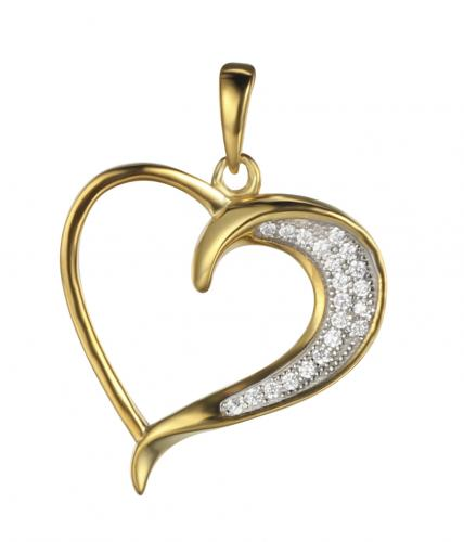 Yellow Gold CZ Heart 925 Sterling Silver FP03208C