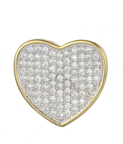 Yellow Gold CZ Heart 925 Sterling Silver FP03302D