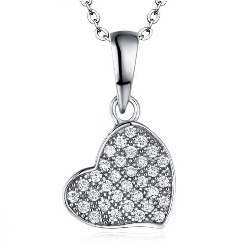 Rhodium CZ Heart 925 Sterling Silver FP03306A