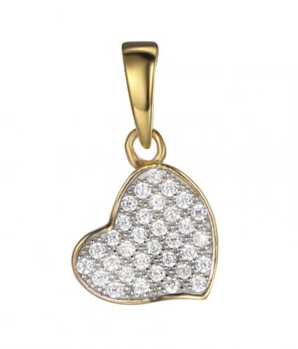 Yellow Gold CZ Heart 925 Sterling Silver FP03306C