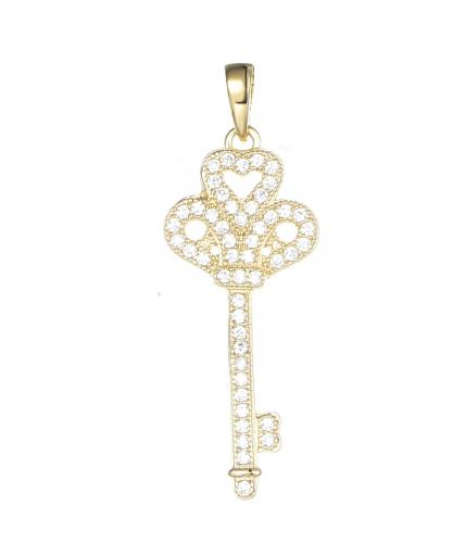 Yellow Gold CZ Key Fashion 925 Sterling Silver Necklace FP03608C