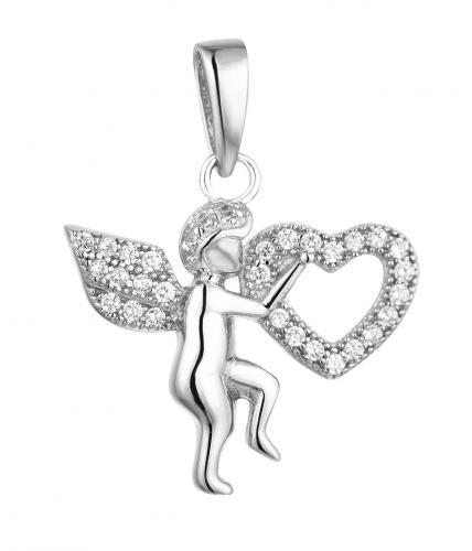Rhodium CZ Angel Fashion 925 Sterling Silver FP03709A