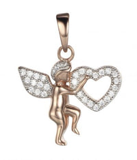 Rose Gold CZ Angel Fashion 925 Sterling Silver FP03709H