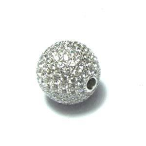 Rhodium CZ Ball 925 Sterling Silver Necklace FP04400B