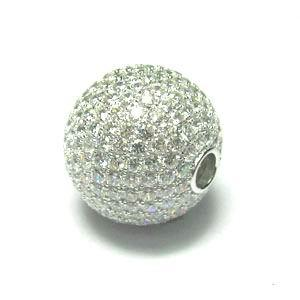 Rhodium Gemstone Ball 925 Sterling Silver Necklace FP04405A
