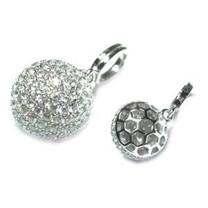 Rhodium CZ Ball 925 Sterling Silver Necklace FP04506A