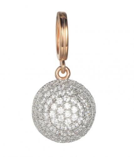 Rose Gold CZ Ball 925 Sterling Silver Necklace FP04506B
