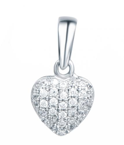 Rhodium CZ Heart 925 Sterling Silver FP04603A
