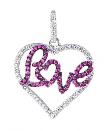 Rhodium Ruby Heart 925 Sterling Silver FP06008A