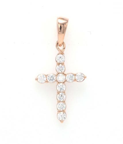 Rose Gold CZ Cross 925 Silver Jewelry Necklace FP06905H