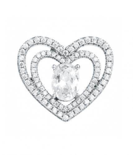 Rhodium CZ Heart 925 Sterling Silver FP07804A