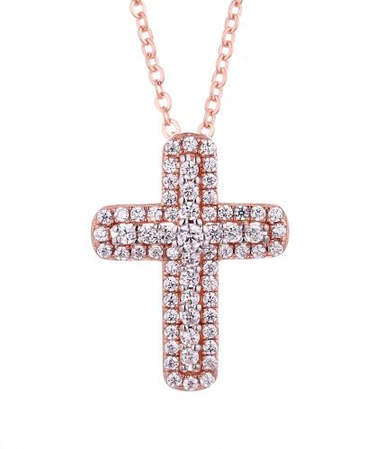Rose Gold CZ Cross 925 Silver Jewelry Necklace FP08502I