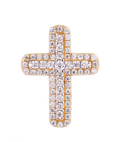 Yellow Gold CZ Cross 925 Silver Jewelry Necklace FP08502J