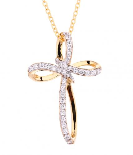 Yellow Gold CZ Cross 925 Silver Jewelry Necklace FP08503F