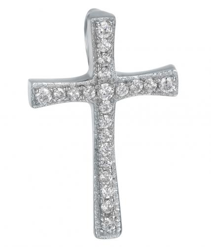 Rhodium CZ Cross 925 Silver Jewelry Necklace FP10305A