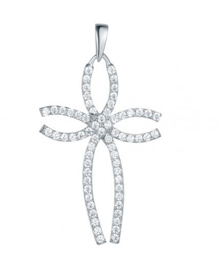 Rhodium CZ Cross 925 Silver Jewelry Necklace FP10408A