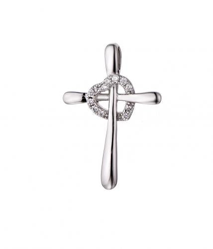 Rhodium CZ Cross 925 Silver Jewelry Necklace FP10502A