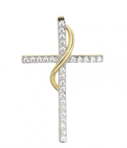 Yellow Gold CZ Cross 925 Silver Jewelry Necklace FP10609D