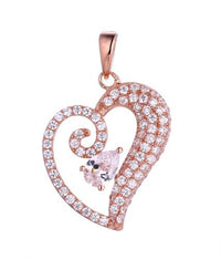 Rose Gold CZ Heart 925 Sterling Silver Necklace FP13000E