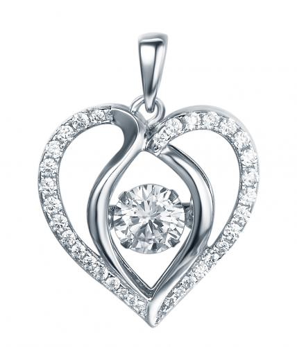 Rhodium CZ Heart Dancing 925 Sterling Silver Necklace FP13901B