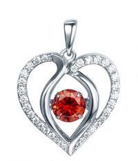 Rhodium Ruby Heart Dancing 925 Sterling Silver Necklace FP13901I