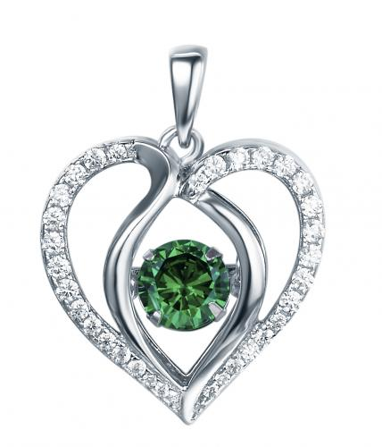 Rhodium Emerald Heart Dancing 925 Sterling Silver Necklace FP13901J