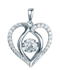 Rhodium Topaz Heart Dancing 925 Sterling Silver Necklace FP13901L
