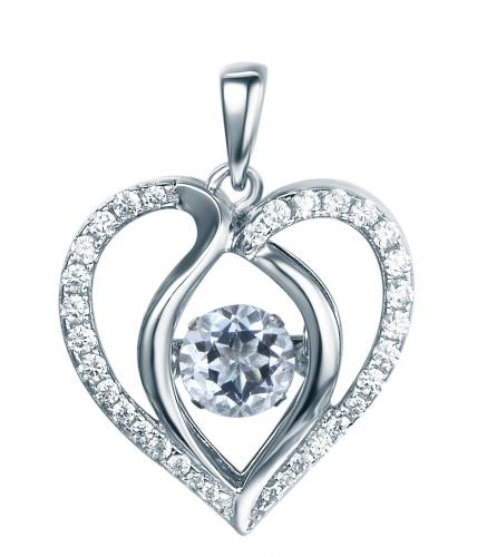 Rhodium Sapphire Heart Dancing 925 Sterling Silver Necklace FP13901M