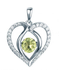 Rhodium Peridot Heart Dancing 925 Sterling Silver Necklace FP13901O