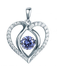 Rhodium Tanzanite Heart Dancing 925 Sterling Silver Necklace FP13901P