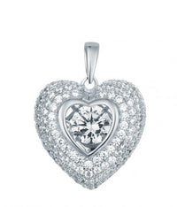 Rhodium CZ Heart Dancing 925 Sterling Silver Necklace FP14000A