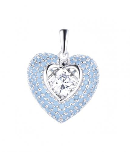 Rhodium CZ Heart Dancing 925 Sterling Silver Necklace FP14000Q