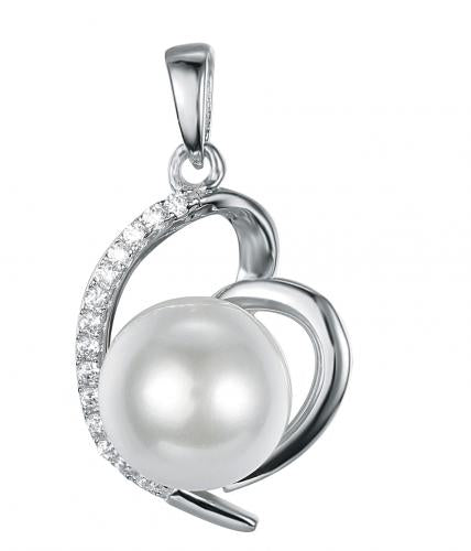 Rhodium Pearl Heart 925 Sterling Silver Necklace FP15200B