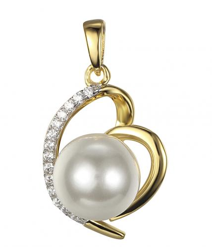 Yellow Gold Pearl Heart 925 Sterling Silver Necklace FP15200C