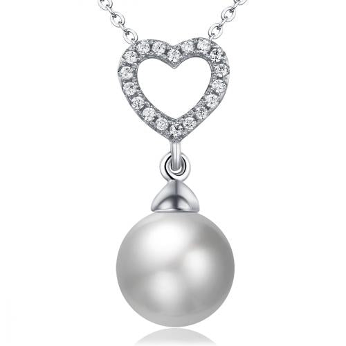 Rhodium Pearl Heart 925 Sterling Silver Necklace FP16105A