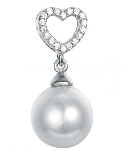Rhodium Pearl Heart 925 Sterling Silver Necklace FP16105C