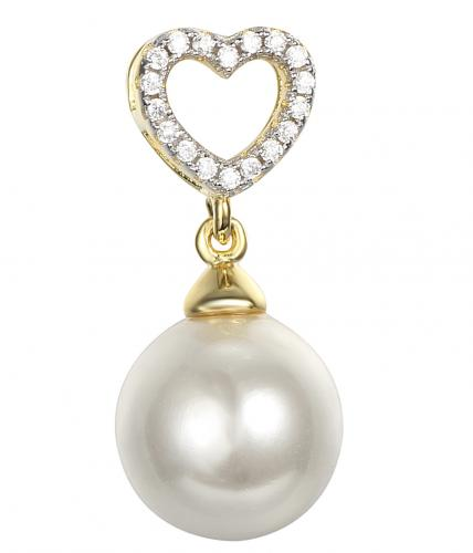 Yellow Gold Pearl Heart 925 Sterling Silver Necklace FP16105D