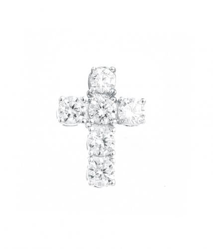Rhodium CZ Cross 925 Silver Jewelry Necklace FP16402A