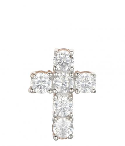 Rose Gold CZ Cross 925 Silver Jewelry Necklace FP16402D