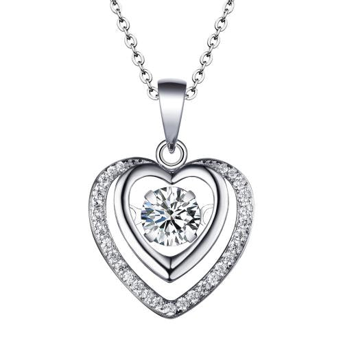Rhodium Emerald Heart Dancing 925 Sterling Silver Necklace FP16407A