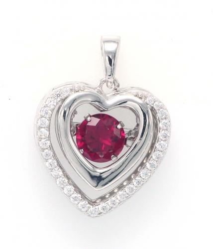 Rhodium Ruby Heart Dancing 925 Sterling Silver Necklace FP16407D