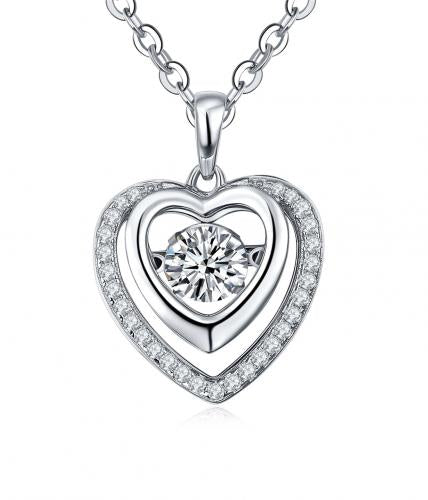 Rhodium CZ Heart Dancing 925 Sterling Silver Necklace FP16407E
