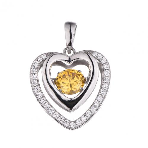 Rhodium Citrine Heart Dancing 925 Sterling Silver Necklace FP16407N